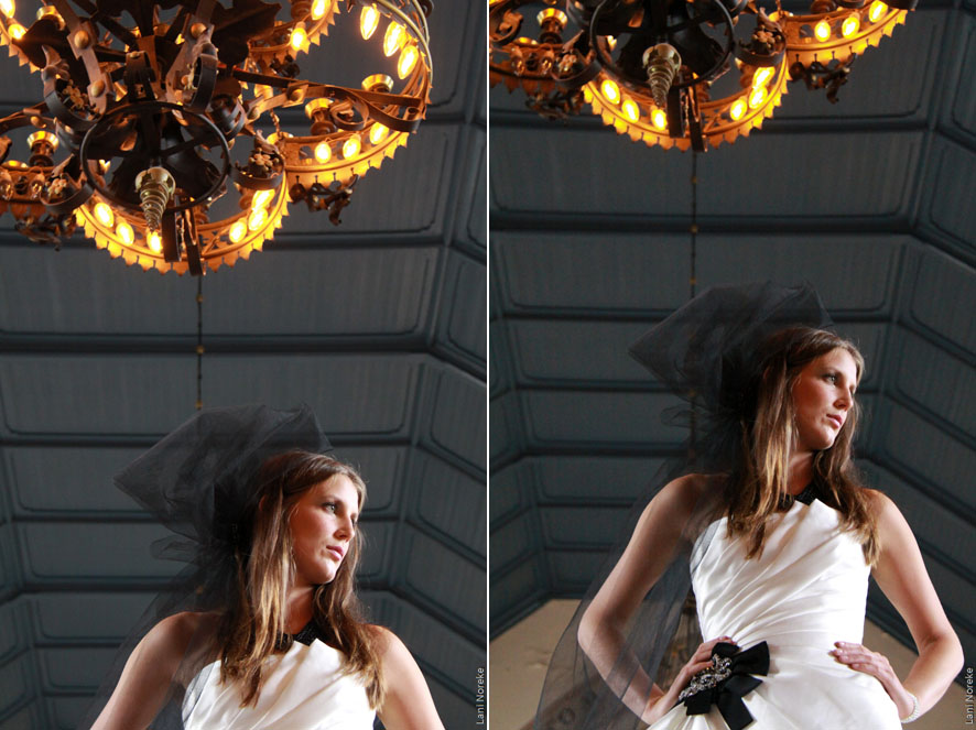 wedding portraits in the church with chandelier