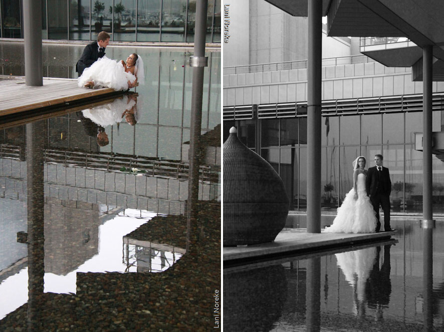 bride & groom at the reflecting pool