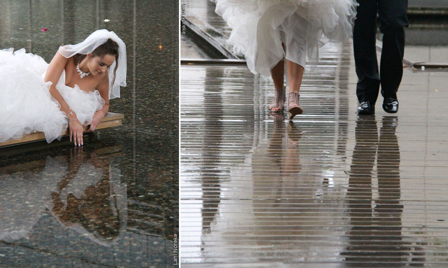 reflections in wedding portraits